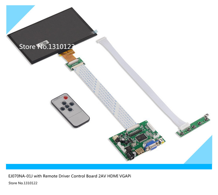 купить 7 Inches 1024*600 IPS Screen Display LCD TFT Monitor EJ070NA-01J with Remote Driver Control Board 2AV HDMI VGA for Raspberry Pi по цене 2872.21 рублей