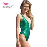 Pocket Girl 2017 New Arrival Summer Women Beachwear Green Solid Mermaid Zipper Backless Plus Size Beach
