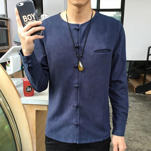Camisa de Lino de Los Hombres de Moda de Calidad superior 2017 del Resorte Nuevas Camisas de Los Hombres Camisa de Manga larga Plus Size Slim Fit Hombre Hombres Del Estilo de China Tops