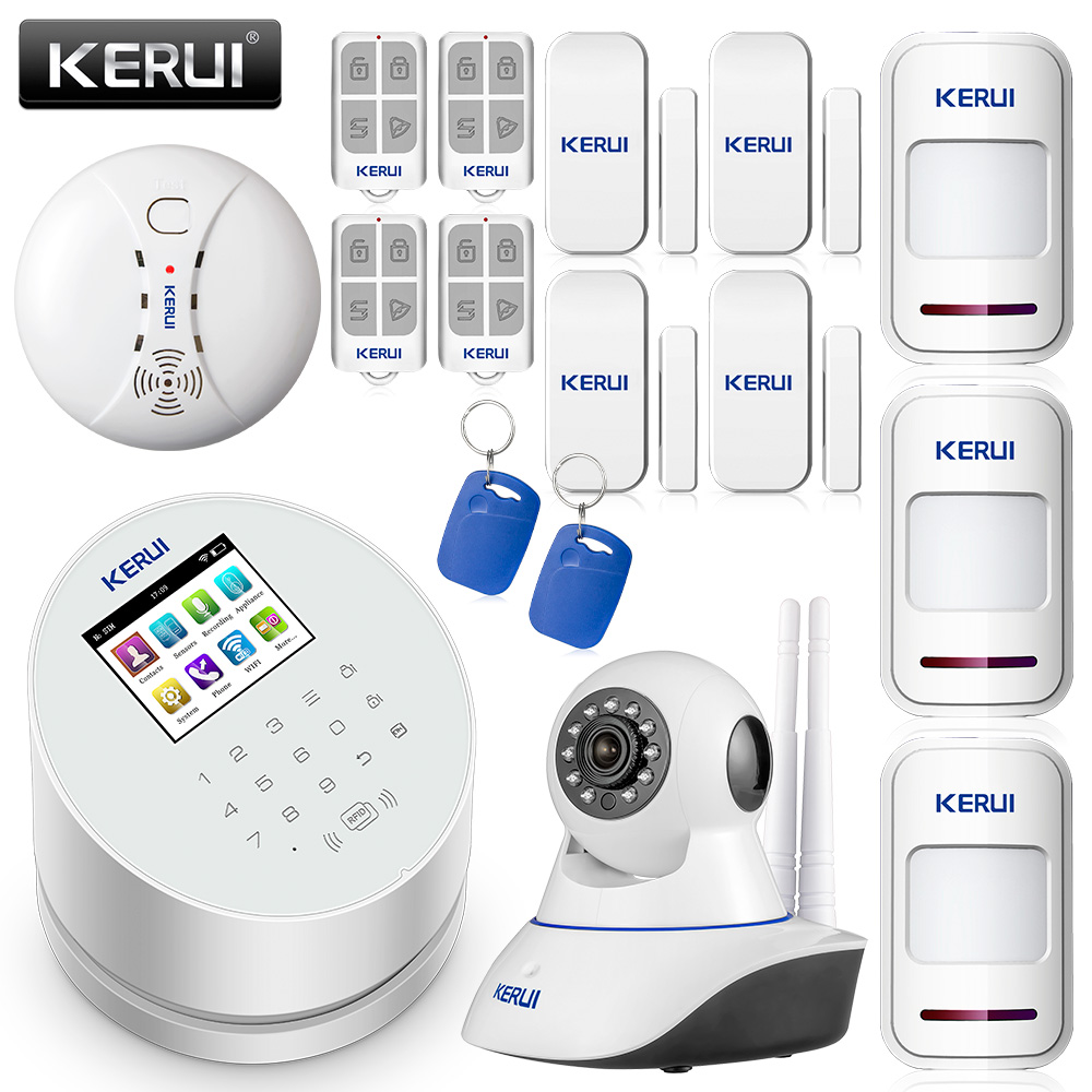 KERUI W2 WiFi/GSM/PSTN Security Home Smart Residential Wireless Alarm System Sets 2.4 inch TFT Color Display Burglar Alarm|Alarm System Kits| |  - title=