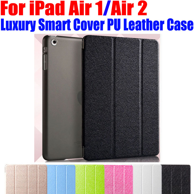 10pcs/Lot Luxury Smart Cover For iPad Air 1/2 Stand PU Leather Case Translucent Clear back Case For iPad Air1 Air2 I606 sgl luxury ultra smart stand cover for ipad air 1 ipad5 case luxury pu leather cover with sleep wake up function for ipad air1