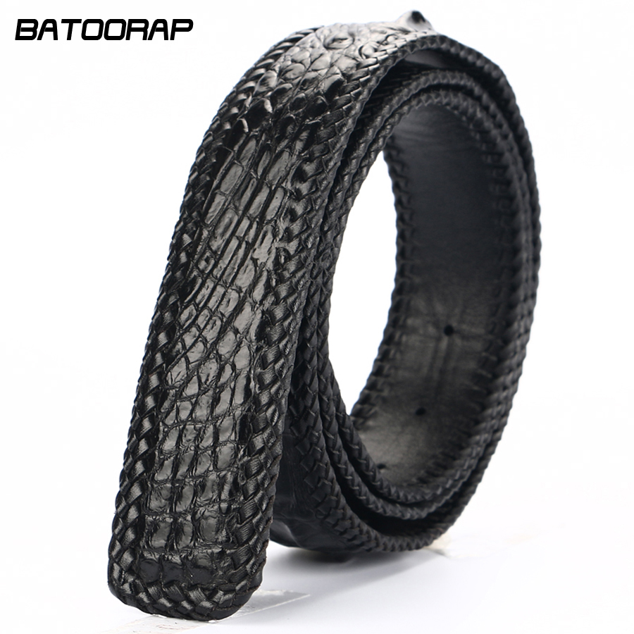 BATOORAP High Quality Men Belt Crocodile leather Belts Luxury Brand Designer Belts Black