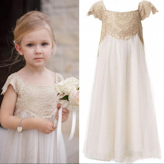 Vintage   Flower     Girl     Dresses   for Wedding Ankle Length Cap Sleeve Empire Champagne Lace Ivory Chiffon   Girls   First Communion   Dress