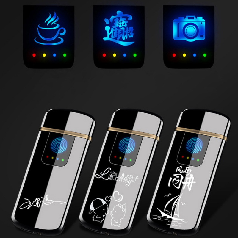Touch-senstive Switch Lighter Cigarette Lighter USB Lighters Windproof Flameless Rechargeable Electronic Lighter for Smoking HM