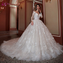 Waulizane Lace Wedding Dress Ball Gown 2019 Chapel Train With 3d Flowers