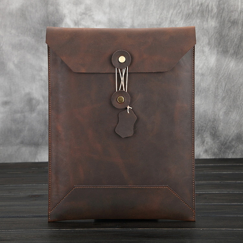 KUNDUI Crazy horse package Men's first layer of Cowhide briefcase big envelope bag man Genuine leather Paper bags Resource