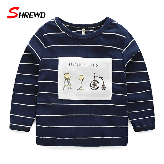 Camiseta de Los Muchachos de Marca 2017 Otoño Nueva Moda Patch Rayas Chicos Camisetas de Manga Larga Niños Ocasional Ropa 4188 W