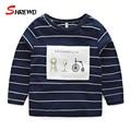 T-shirt Boys Brand 2017 Autumn New Fashion Patch Striped Boys Tshirts Long Sleeve Casual Children Clothing 4188W
