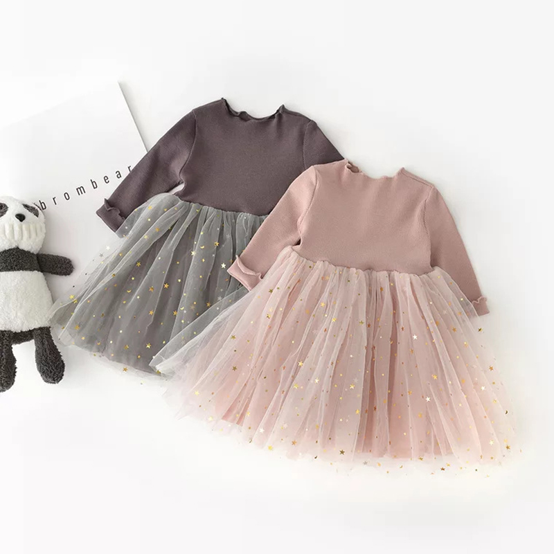 Winter Kids Dresses For Girls Long Sleeve Children Clothing Sequins Stars Tutu Girls Casual School Wear Princess Party Dress