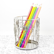 F4 FLOWERS PEN&PENCIL CUP/BOX/HOLDER LOVELY/NOVELTY STAINLESS HAND-MADE ART CRAFTS WEDDING&BIRTHDAY&HOME&OFFICE&GIFT&PRESENT