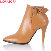 MORAZORA 2020 6 colors new arrival pointed toe autumn women boots zipper fashion female shoes sexy stiletto heels ankle boots