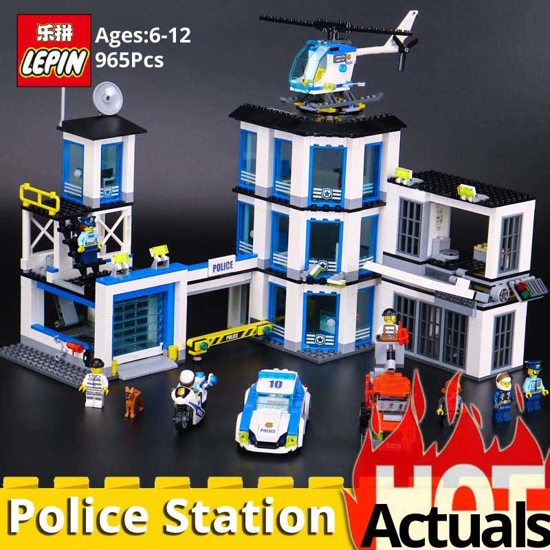 LEPIN CITY 02020 Police Station Model Set Children Educational Building Blocks Bricks Toys Gift Compatible LegoINGlys City 60141 new city police station fit legoings city swat police figures building blocks bricks model 60141 gift kid kids boys diy toys