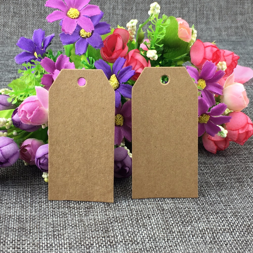 200PCS/Lot 8*4cm Kraft Paper Blank Cut Corner Hang Price Tags Band Power Head Card Price/Luggage Label Tag Accept Custom Logo