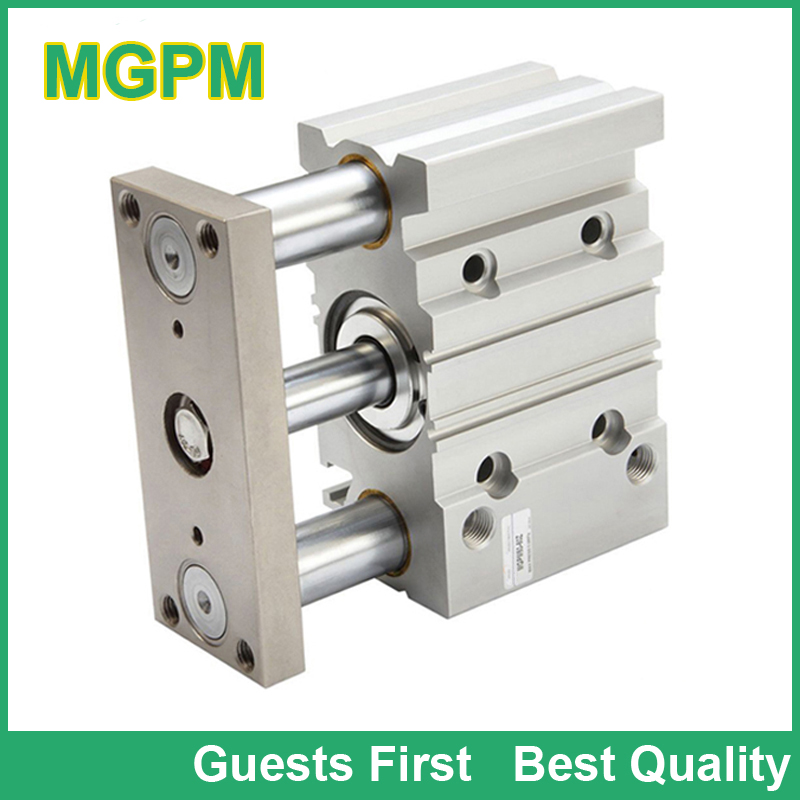 MGP series MGPM MGPL Compact 3 Guide Rod Air Pneumatic Cylinder MGPM32-10 MGPM32-20 MGPM32-25 MGPM32-30 MGPM32-40 MGPM32-50 mgpm32 30 32mm bore 30mm stroke series three shaft double acting air cylinder with rubber bumper mgpm32 30