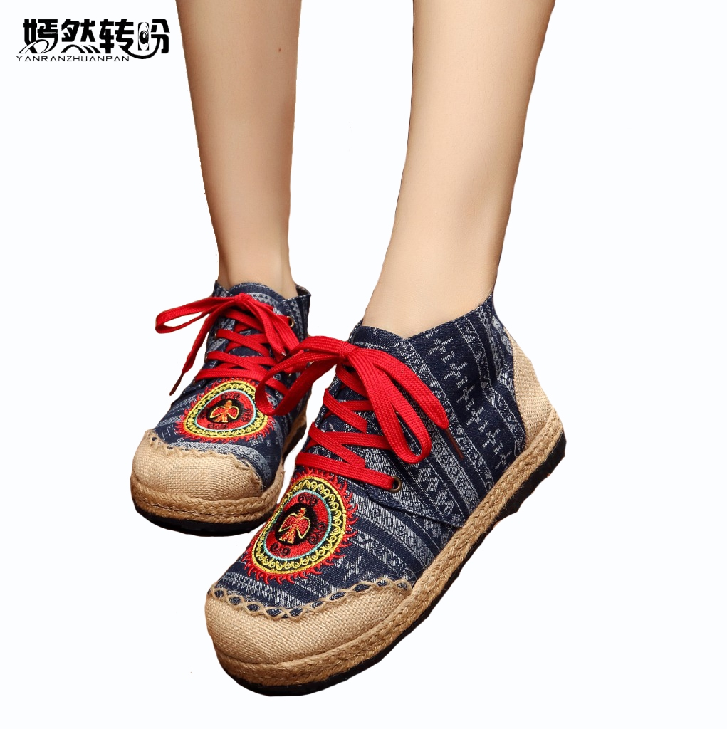 Vintage Womens Embroidery Linen Shoes Old BeiJing Chinese handmade embroidered shoes ethnic single shoes vintage pumps spring autumn old beijing embroidery cloth shoes fairy girl embroidered national han chinese women s shoes