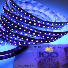 High Quality UV led strip 395-405nm Ultraviolet 3528 SMD 120led/m Flexible Ribbon String tape lamp 12V for DJ Fluorescence party(China)