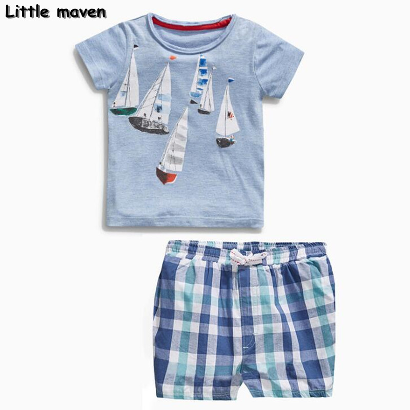Little maven brand children clothing 2018 new summer baby boy clothes sailing boat childrens sets 20076