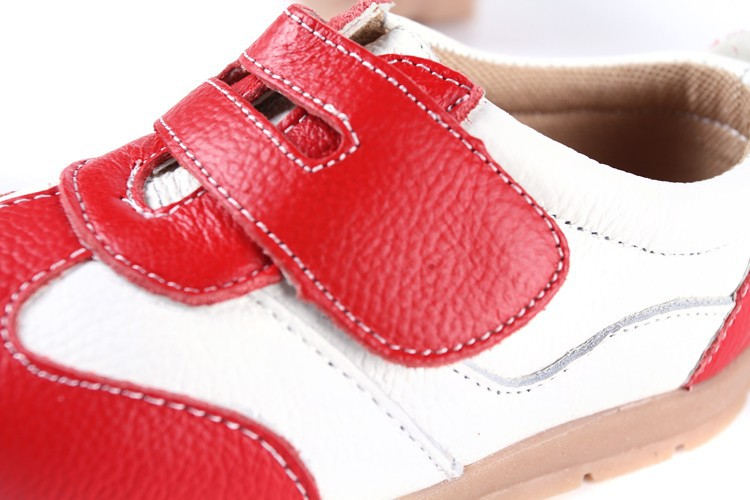 SandQ baby Boys sneakers soccers shoes girls sneakers Children leather shoes pink red black navy genuine leather flexible sole 19