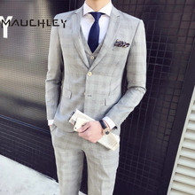 Mens Suits With Pants Latest Coat Pant Designs Plaid Slim Fit Wedding Prom 3 Piece ( Blazer + Vest ) 2018