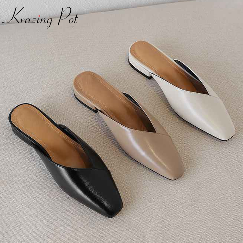 Krazing Pot Vintage Genuine Leather Mules Women Low Heels Korean Sweety Square Toe Simple Lazy Style Summer Holiday Pumps L22