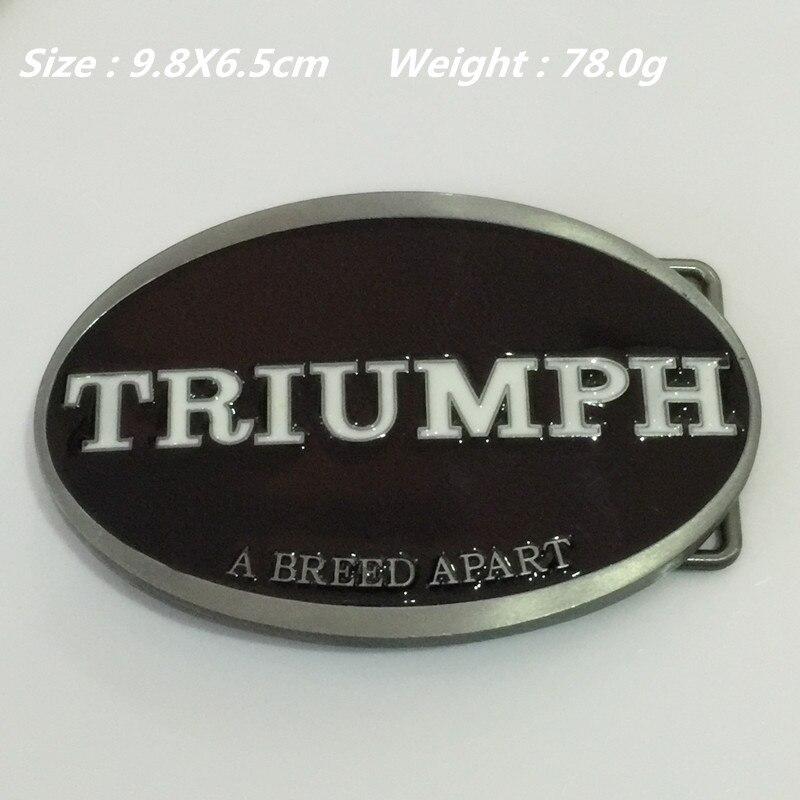 Retail New Style TRIUMPH Belt Buckle 9.8*6.5cm 78g Oval Black White Metal For 4cm Wide Belt with Men Women Jeans accessories
