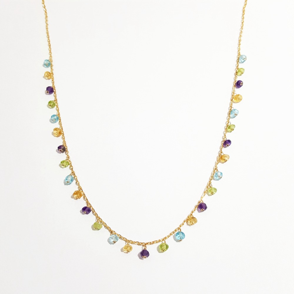 Lii Ji Amethyst Citrine Topaz Peridot Chain Necklace Natural Gemstone 925 Sterling Silver Gold Plated Handmade