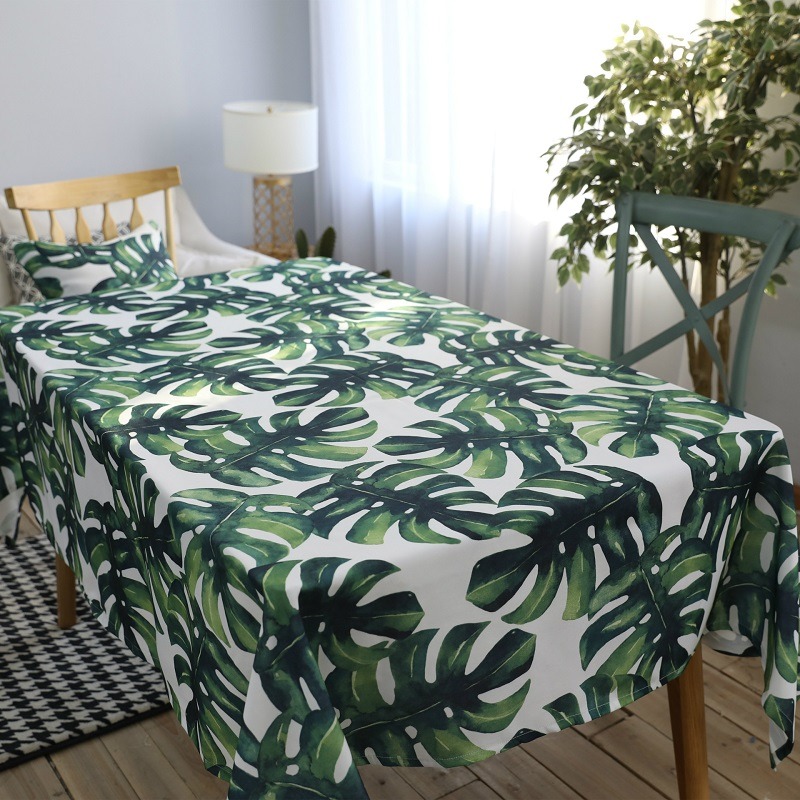 Polyester Cotton Tablecloth Green Leaf Of Tropical