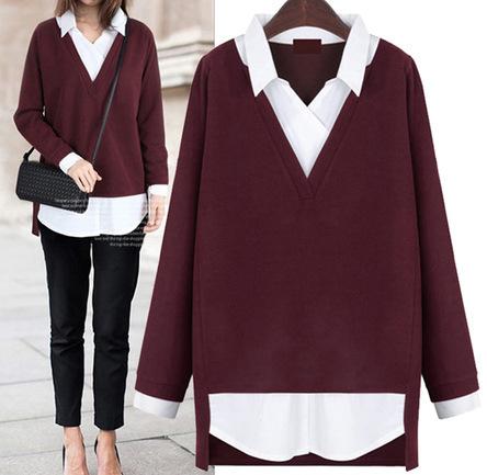 2016 Novas Mulheres encabeça Falso two-piece camisa turn-down collar camisola magro roupas da moda camisola das mulheres mais tamanho 5XL