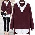 2016 Nuevo de Las Mujeres tops camisa Falsa de dos piezas da vuelta-abajo suéter delgado ropa de moda suéter de las mujeres más tamaño 5XL