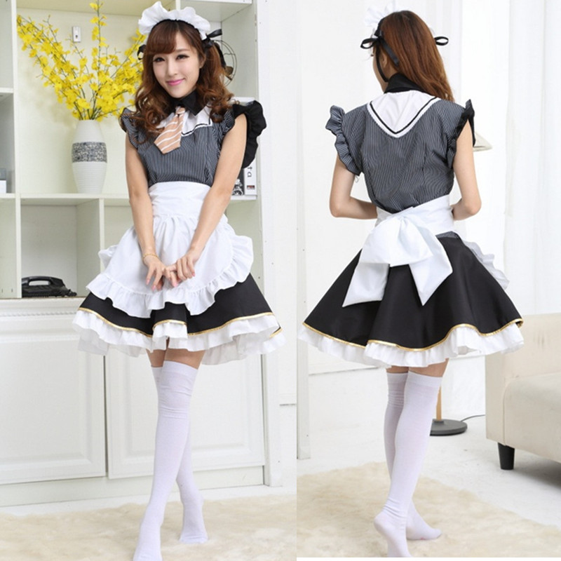 Japanese Hot Anime Cosplay Costume Restaurant Maid Housewife Cosplay Costume Cloth Lolita Dress Set