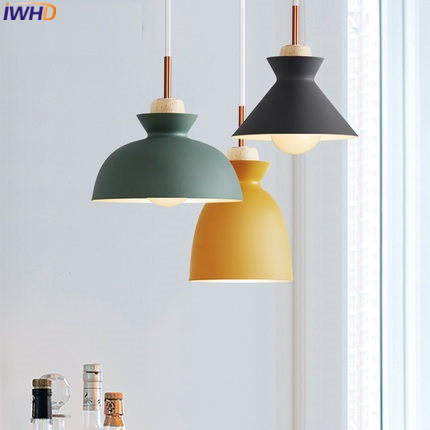 Nordic Pendant Lights For Home Lighting Modern Hanging Lamp Wooden Iron Lampshade LED Bulb Bedroom Living Room Light 90-260V E27