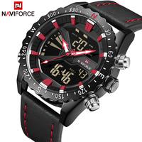 2018 NAVIFORCE Top Brand Men Fashion Sport   Watch   Mens Leather Military Quartz Wrist   Watches   Male Waterproof Analog Digital Clock