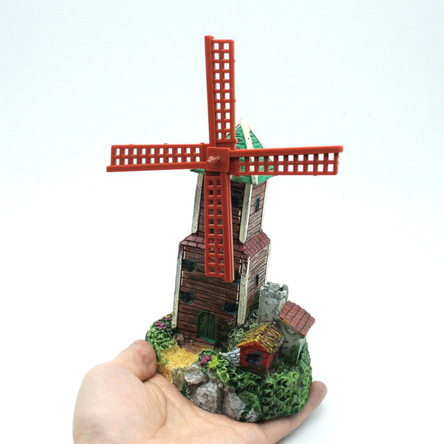 New design air driving windmill castle aquarium ornament waterwheel new design air driving windmill castle aquarium ornament waterwheel rock stone fish tank aquatic decoration used workwithnaturefo