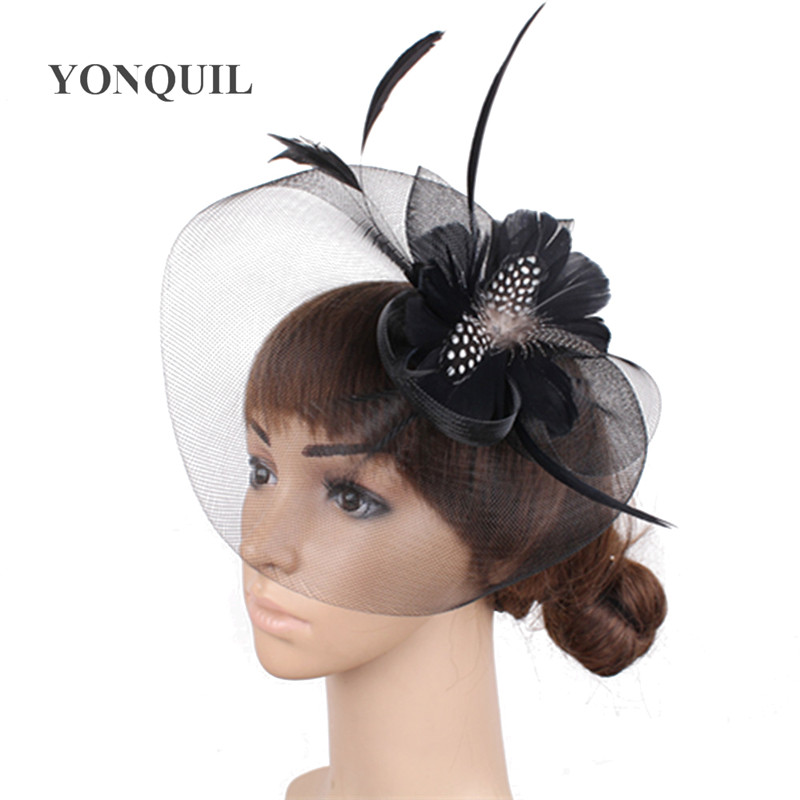 Black Flower Fascinator Hat: Aliexpress.com : Buy Feather Flower Fascinator Hat With