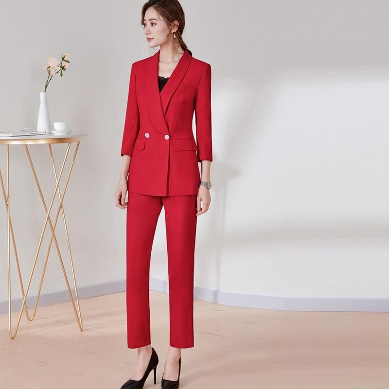 Бизнес костюмы, Для женщин вежливость Формальные брючный костюм, 2018 новый, Офисные женские туфли костюм, Корейская версия официальная одежд
