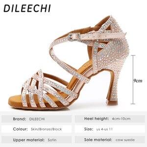 Image 2 - DILEECHI zapatos de baile latino con diamantes de imitación para mujer, zapatos de salón de Salsa, Cuba, tacón alto de 9cm, Software de Vals, gran oferta, bronce piel