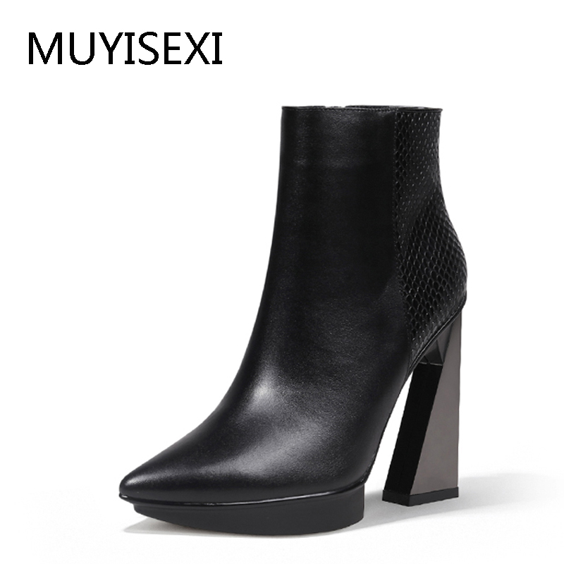 Women Boots Genuine Leather Pointed Toe 11cm High Heels Brand Designer Women Shoes Chaussure Femme De Marque HL121 MUYISEXI peacock crystals slingbacks 8cm chunky heels open toe summer shoe sandals chaussure femme de marque chaussure femme talon ouvert