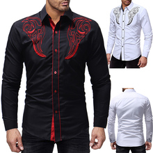 2018 Autumn New Hot Men's Shirt Totem Embroidery Men's Casual Slim Long Sleeve Shirt Solid Color Print Long Sleeve Shirt