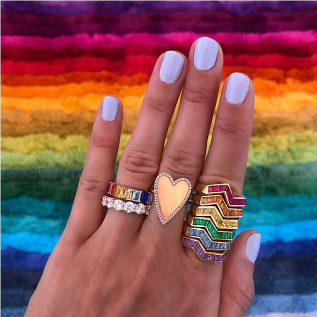 Colorful Cz Band Stack Ring Gold Various Colors Bezel Set Baguette Stone Wave Twist Band Rings Demand Exceeding Supply