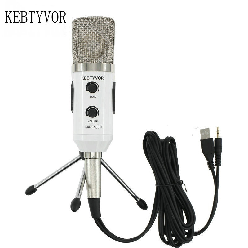 mk f100tl Blue USB 2.0 Condenser Sound Recording Audio Processing Wired Microphone with Stand for Radio Braodcasting KTV Karaoke