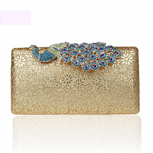 Elegant Peacock Women Luxury Gorgeous Evening Party Clutch Bag Fashion Bridal Chic Hollow Out Floral Chain Shoulder