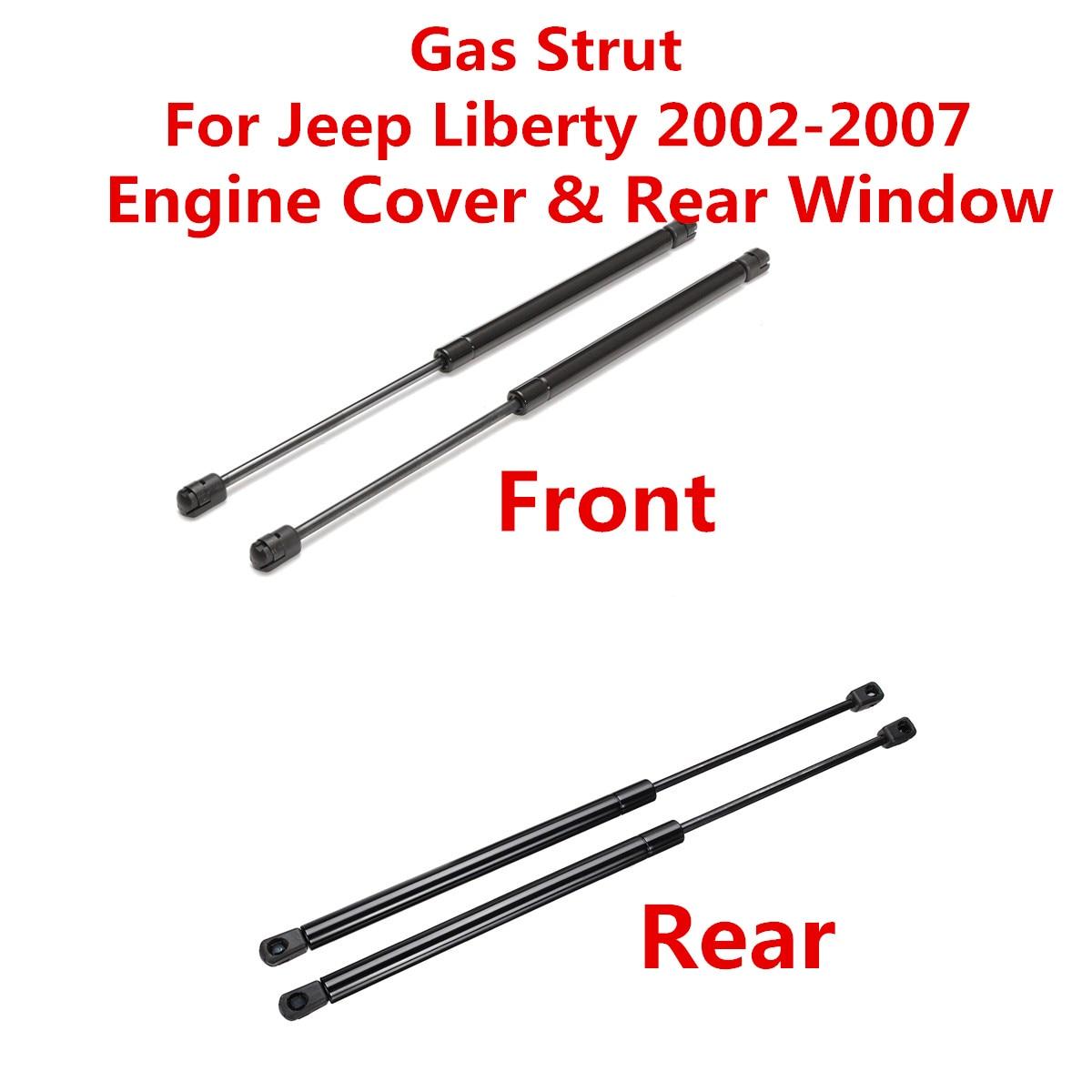 Araba Ön motor kaputu kapağı Arka Cam Asansör Şokları Destekler Bar gazlı amortisör Jeep Liberty 2002 Için 2003 2004 2005-2007