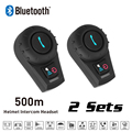 New 2 Sets 500M BT Bluetooth FM Radio Motorcycle Helmet Intercom Interphone Headset intercomunicador for Phone/GPS/MP3