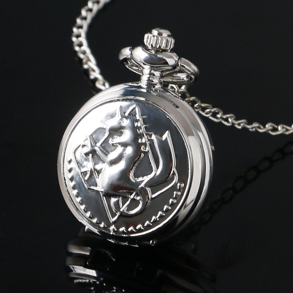 Small Mini Size Silver Alchemist Fullmetal Quartz Pocket Watch Women Men Kids Necklace With Chain Birthday Gift Clock Hours P768