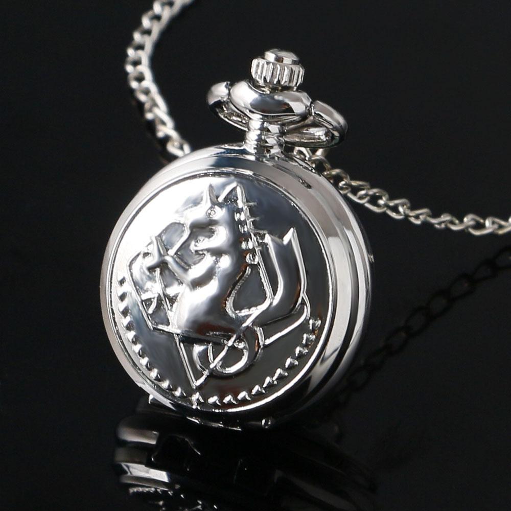 Small Mini Size Silver Alchemist Fullmetal Quartz Pocket Watch Women Men Kids Necklace With Chain Birthday Gift Clock Hours P768