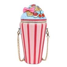 New Fashion Creative Cupcake Ice Cream Shape Shoulder Handbag Women Teenage Girl Travel Crossbody Bags Messenger Bag 2018 new and creative messenger bag with the shape of ice cream cute chain bag designed for lovely girls