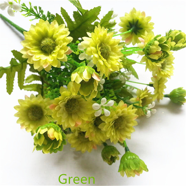 Silk Artificial Chrysanthemum Flower Bouquet Purple White Yellow ...