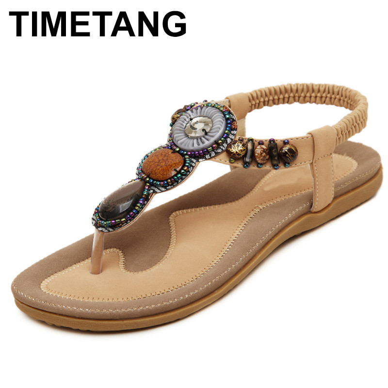 TIMETANG New Korean Comfortable Women Sandals Bohemian String Bead Clip Toe Flat Shoes Sandals Shoes key words for retail mp3 cd cef level в1