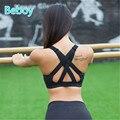 Beboy alto apoyo sujetador deportivo mujeres running gym yoga bra acolchado Fitness Sport Bra Top Sexy Back Sujetadores Deportivos de Compresión chaleco