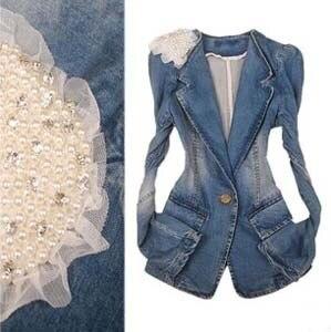 New Arrivals 2013 Autumn The Female Jacket With Beads Hot Selling Women's Outerwear Brand Designer Jean Jackets Denim Blazer
